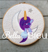 Sleeping Unicorn on the moon machine embroidery design