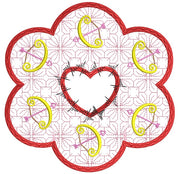 Valentines Cupids Bow Candle Mat In the hoop ITH 8x8 hoop