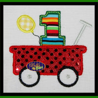 First 1st One Birthday in the little red wagon with Balloons Applique Embroidery Design