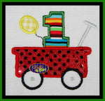 1, 2, 3, 4, 5 Little Red Wagon & Balloons Birthday Machine embroidery designs
