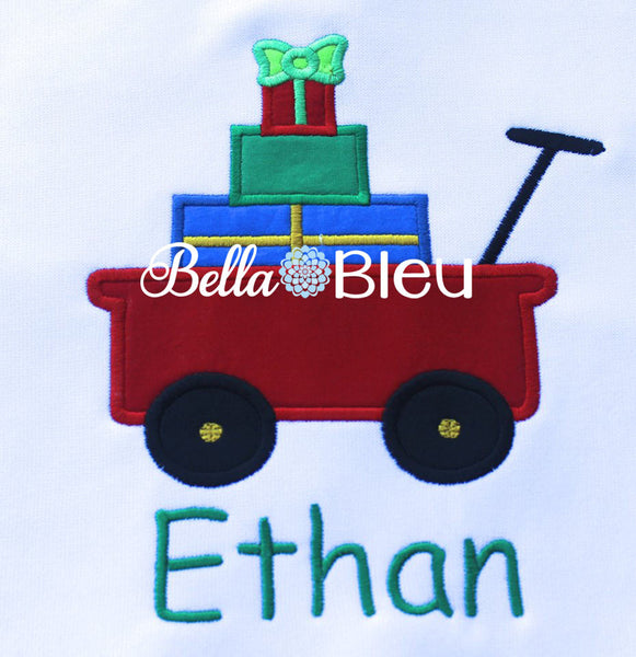 Little Red Wagon filled with Presents Machine Applique Embroidery design
