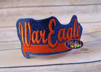 ITH in the hoop War Eagle Sports Headband Slider Topper machine embroidery