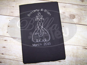 Wedding Dress Redwork  Machine Embroidery Design