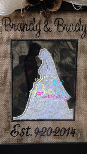 Wedding Bride and Groom Silhouette Applique Machine Embroidery Design