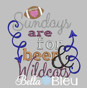Sundays are for beer and Wildcats football machine embroidery design