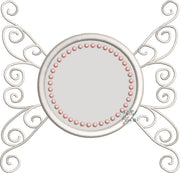 Monogram Winged Circle Frame Machine Applique Embroidery Design