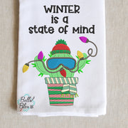 Cactus Winter is a State of mind sketchy Saying Machine Embroidery