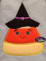 Halloween Witch with Hat Candy Corn Machine Applique Embroidery Design