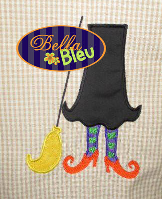 Halloween Wicked Witch with Broom Machine Applique Embroidery Design