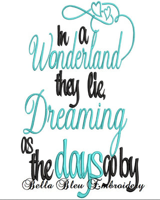 In a Wonderland they lie, Dreaming as the days go by Reading Book Inspired Alice pillow machine embroidery design