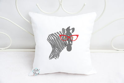 Sketchy Zebra with Glasses Machine Embroidery design