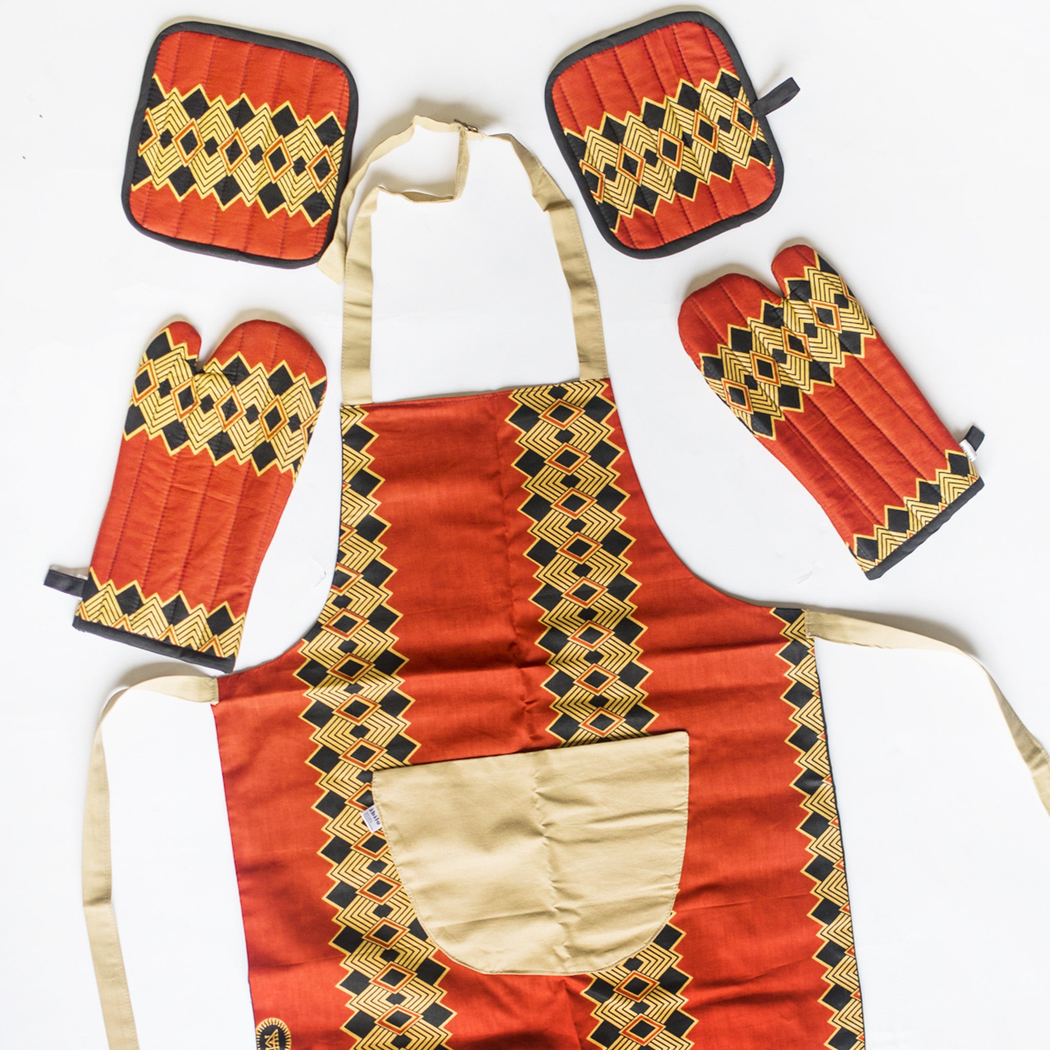 AFRICAN PRINT APRON, OVEN MITTS & POT HOLDER SET
