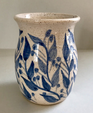 Hand-painted Cream Vase with Blue Flowers (pre-loved)