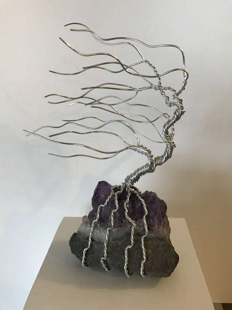 Silver Wire Tree on Amethyst