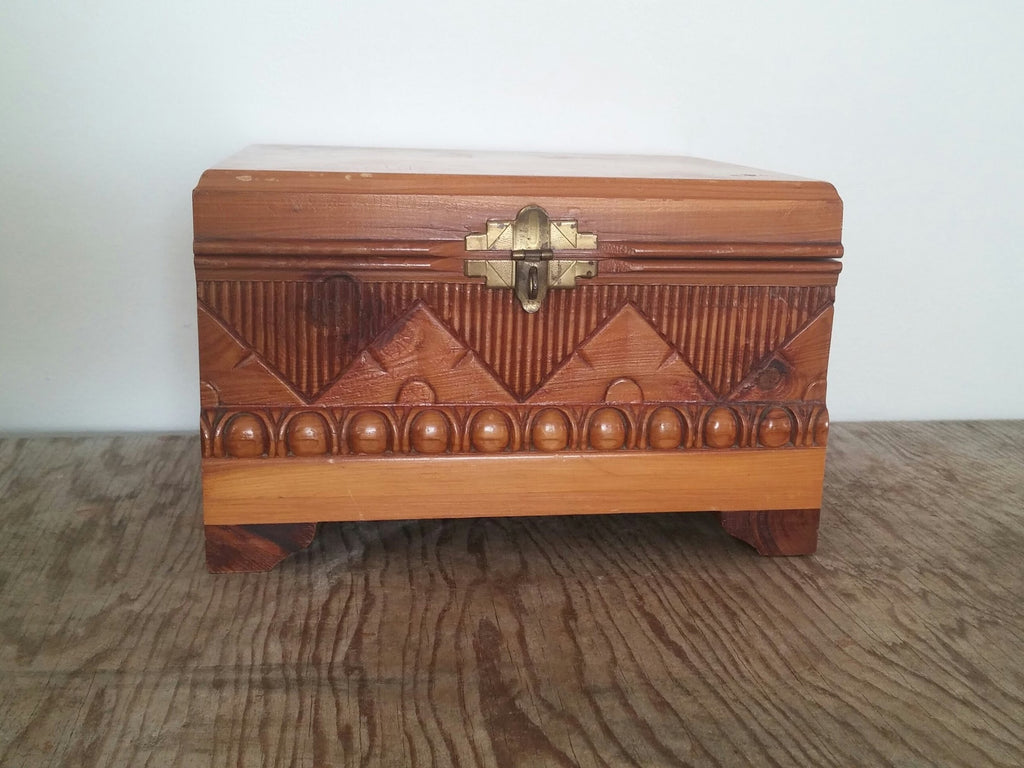 Carved vintage cedar trinket box