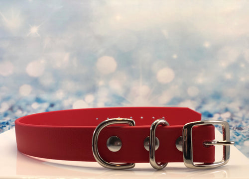 Waterproof red dog collar made with BIOTHANE® and nickel over solid brass hardware