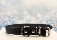 Black Biothane Dog Collar with solid brass nickel buckle
