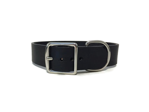 Large Black Bridle Leather Dog Collar