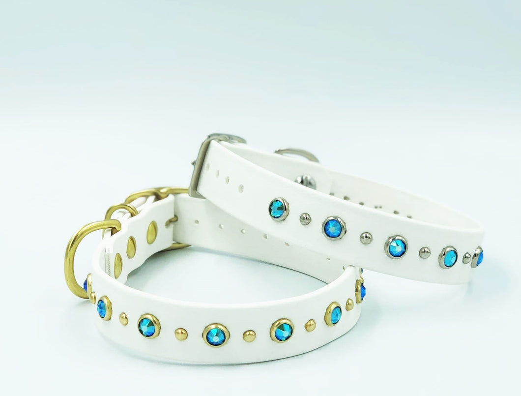 BioThane® Dog Collar, White With Blue Zircon Shimmer Swarovski® Crystals