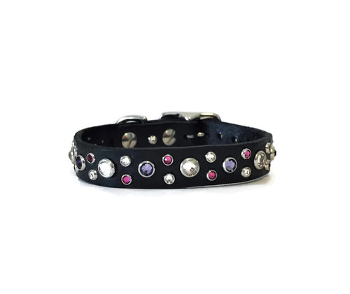 fancy designer black leather dog collar with pink and purple Swarovski crystals