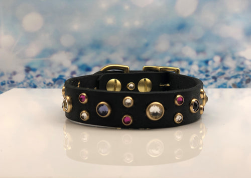 Fancy Black Leather Rhinestone Dog Collar with Swarovski® Crystals