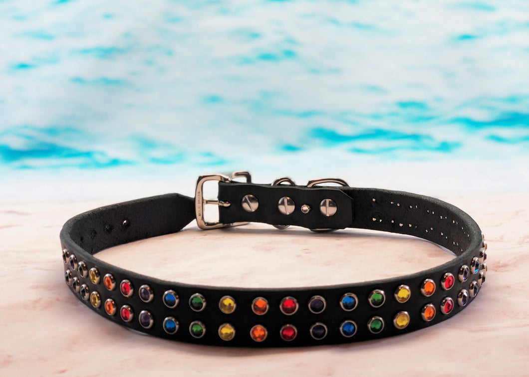rainbow rhinestone dog collar with Swarovski crystals