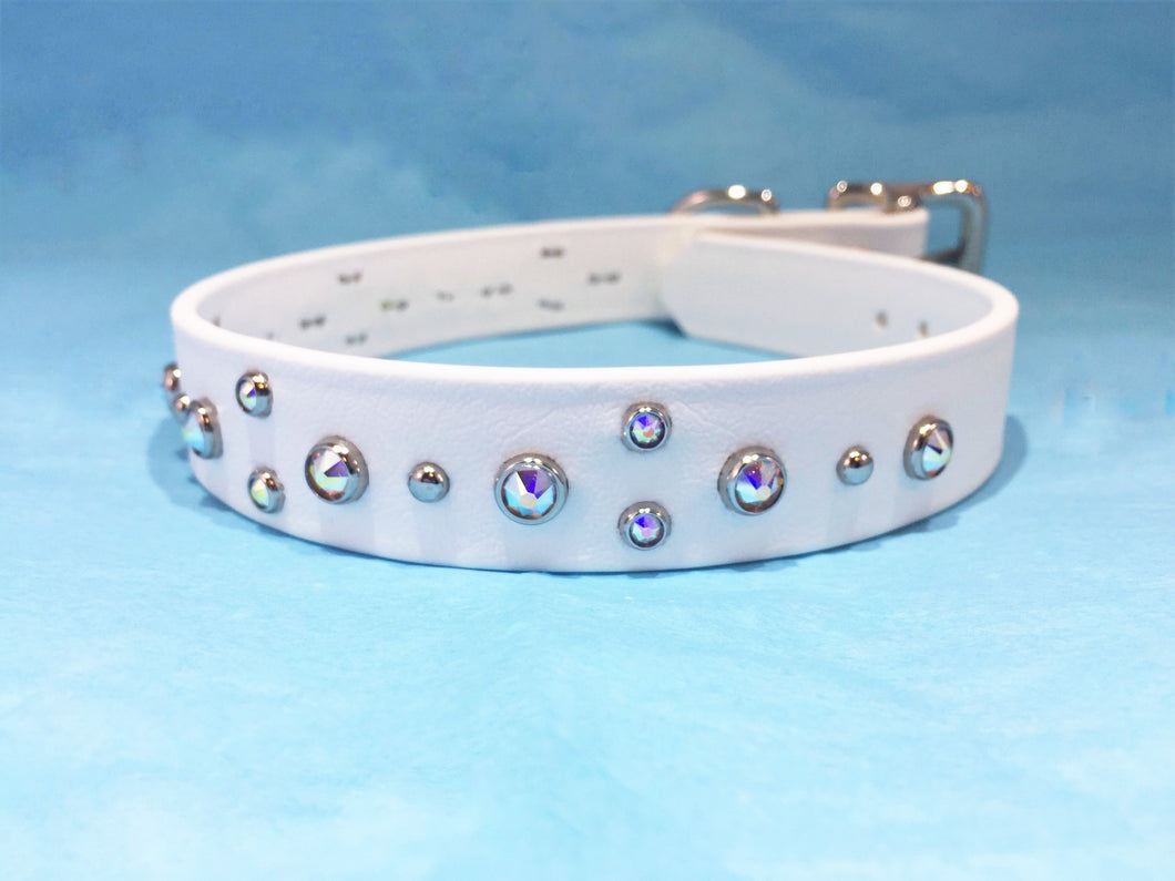 BioThane® Waterproof Canine Collar, White with Swarovski® Crystals
