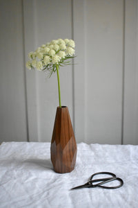 Geometric Walnut Wood Bud Vase