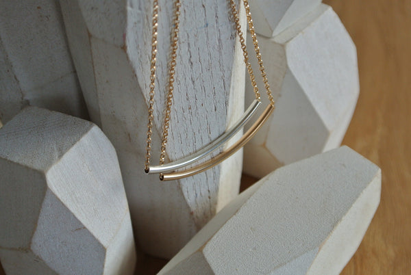 Modern Gold Pipe Necklace
