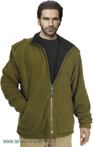 IDF Fleece Double-Sided Jacket Coat Cold Weather Winter Gear Clothes - Green/Black