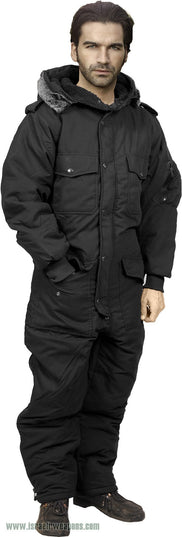 Full Body Coverall IDF Hermonit Waterproof Rain Snowsuit Cold Weather Winter Gear - Black