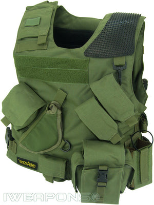 Combat Israeli Army Tactical IDF Military Vest with Holster and Backpack - Holster Model - Green - Left Hand