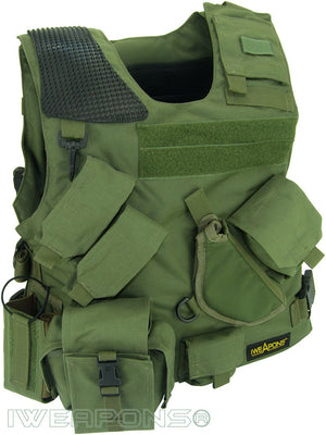 Combat Israeli Army Tactical IDF Military Vest with Holster and Backpack - Holster Model - Green - Right Hand
