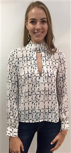 Abstract print key hole long sleeve top
