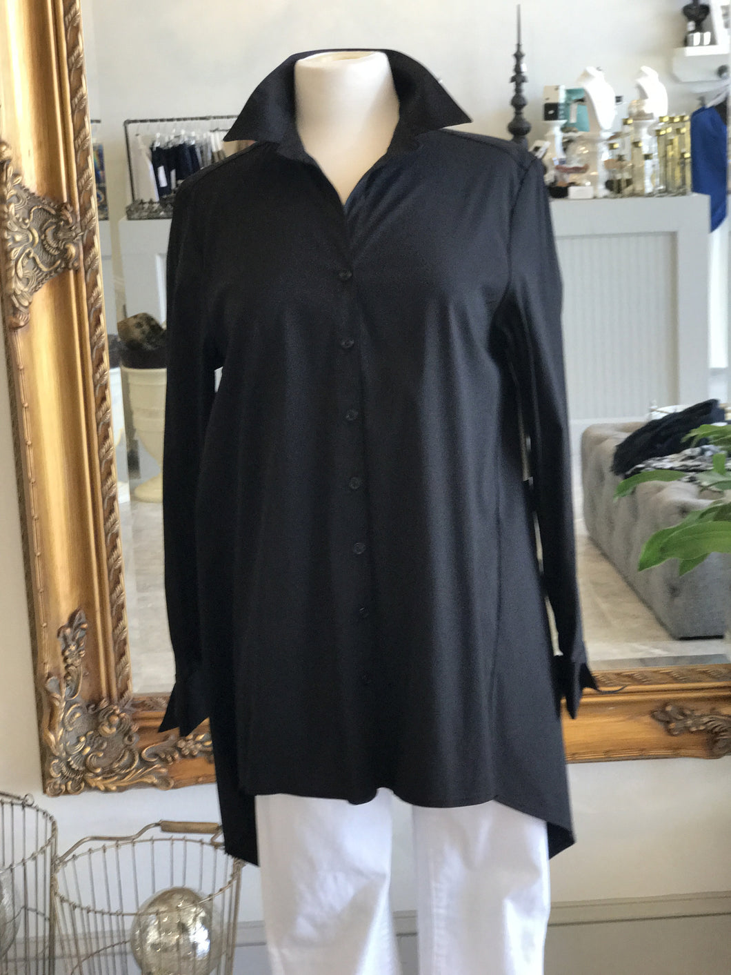 Krazy Larry French Cuff Button Down shirt- black