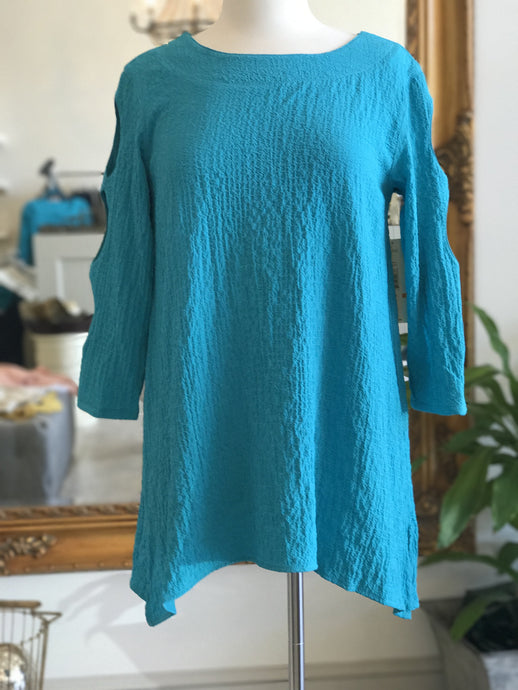 Ali Miles solid Textured Tunic- Turquoise