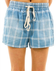 Denim Plaid Smocked short