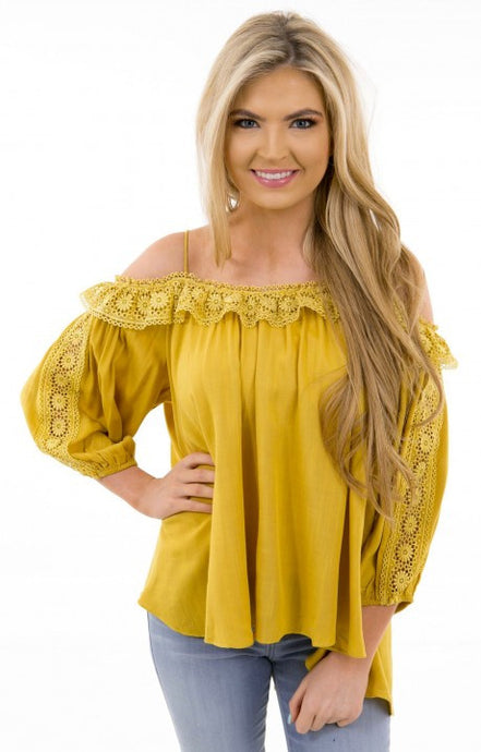 Boho cold shoulder top with lace trip