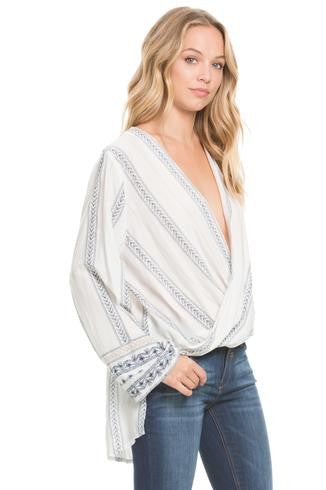 boho 3/4 sleeve criss cross front top