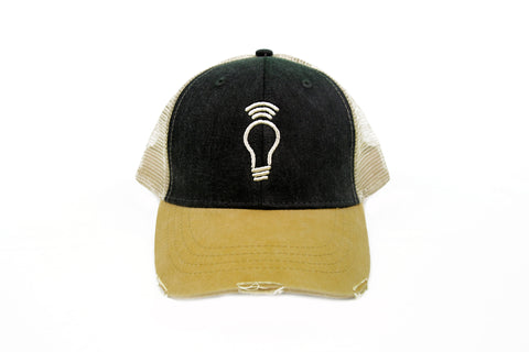 Light Bulb Distressed Trucker Hat