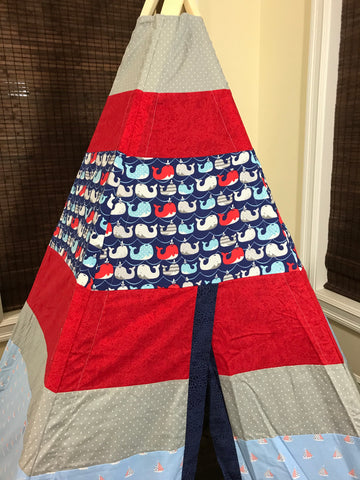 Classic Nautical Whale Teepee in Red and Blue