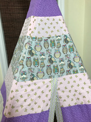Classic Owls Print Teepee in Purple, Pink, and Gold Butterflies