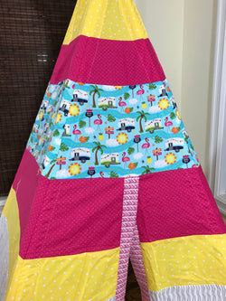 Classic Flamingos Beach Camper Florida California Sun Teepee in Bright Pink and Yellow