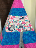Classic Birds and Flowers Teepee in Bright Pink and Blue