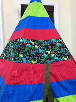 Deluxe Dinosaur Green, Blue, Red Teepee
