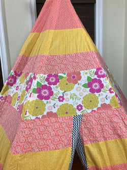 Deluxe Flowers Peach Pink Yellow Grey Teepee