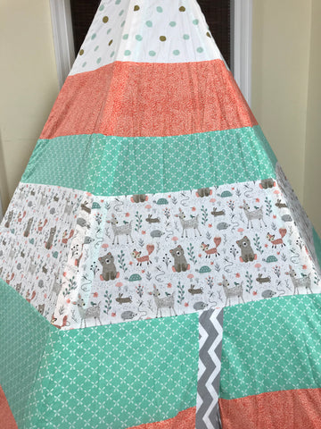 Deluxe Coral White Mint Woodland Deer Bear Fox Turtle Teepee