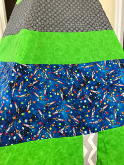 Deluxe Rocket Ships Space Green and Grey Teepee