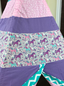 Deluxe Unicorn Pink Purple Teal Teepee