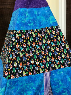 Classic Outer Space Rocket Ship Purple and Blue Teepee